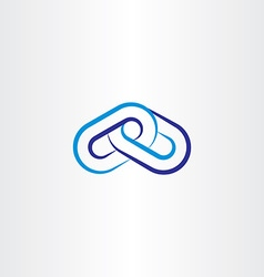 Blue chain line icon logo vector