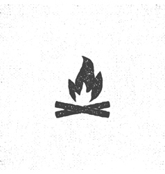 Bonfire icon silhouette retro letterpress effect vector