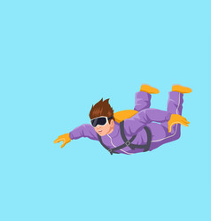 Cartoon of a man sky diving vector