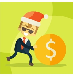 cheerful businessman rolls coin Christmas vector image