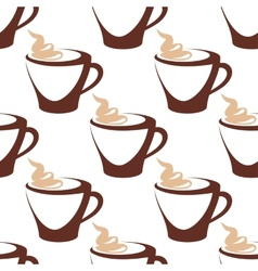 Coffee cup with cream seamless pattern vector image