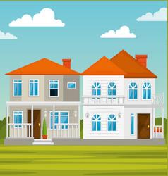 colorful houses in neighborhood vector image