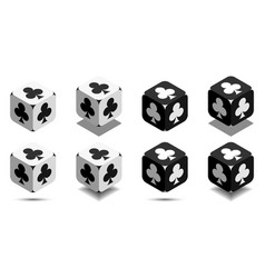 cube with card club in black and white colors vector image