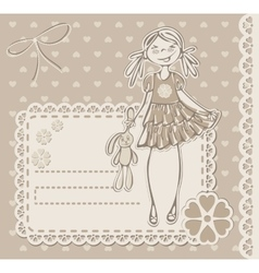 Cute small girl vector image vector image