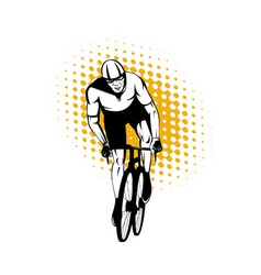 Cyclist riding bicycle front view vector