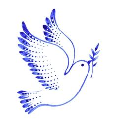 Decorative ornament dove peace vector