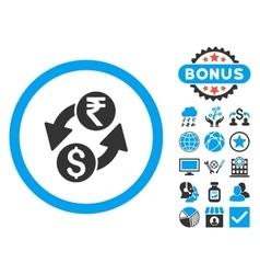 Dollar rupee exchange flat icon with bonus vector