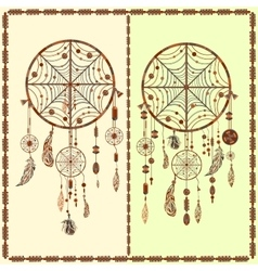 Dream catcher ethnic indian feathers beads vector
