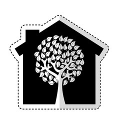 Eco house with tree silhouette isolated icon vector