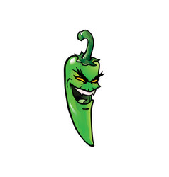 Evil green hot chili pepper vector