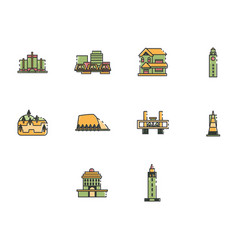 flat color world travel icon set vector image