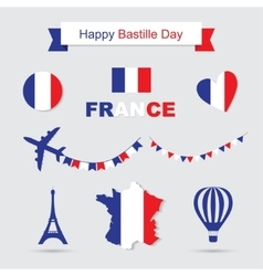 French flag and map icons set Eiffel Tower icon vector image vector image
