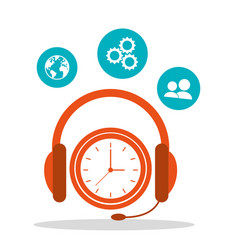 Headsetline time call center vector