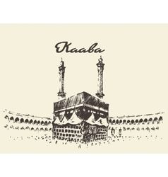 Holy kaaba mecca saudi arabia muslim drawn sketch vector