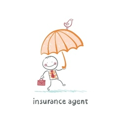 Insurance agent insurance agent with umbrella vector