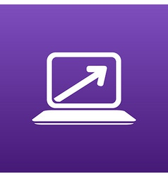 Laptop arrow pointing up from the blank screen vector image vector image