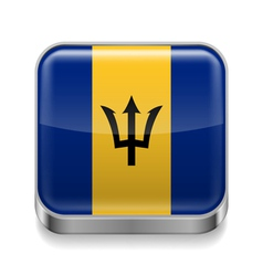 Metal icon of barbados vector