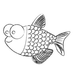 Monochrome sketch of fish with big eyes and scales vector