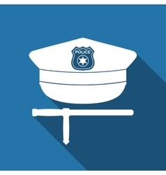Police cap and baton flat icon with long shadow vector