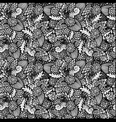 seamless pattern with floral items hand-drawn vector image