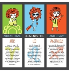 Set of 3 cards zodiac signs vector image vector image