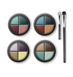 Set of multicolored eye shadows and makeup brushes vector