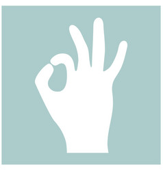 the sign perfectly shows the hand the white color vector image vector image