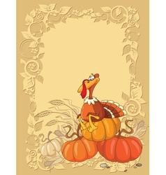 Turkey and pumpkin background vector