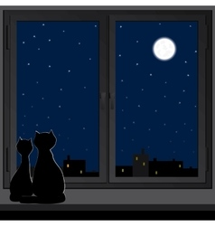 Two cats sitting on a windowsill vector