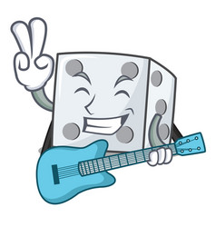 With guitar dice character cartoon style vector