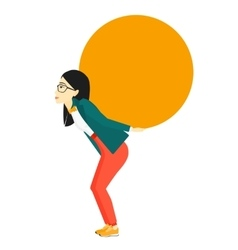 Woman carrying big ball vector
