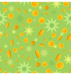 Seamless pattern with coins and star splashes vector