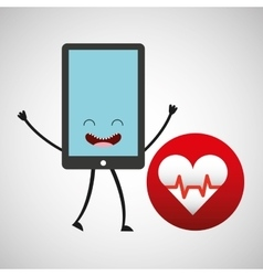 Smartphone cartoon with heart cardiology vector