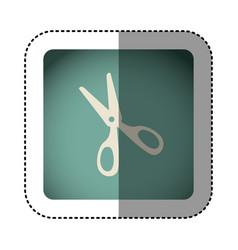 sticker color square with scissors vector image