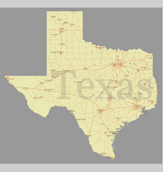texas accurate exact detailed state map with vector image