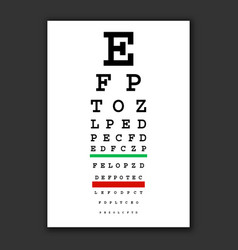 optical vision test chart vector image