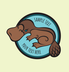 Cartoon platypus or duckbill sign template vector