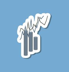 Paper sticker on stylish background money graph vector