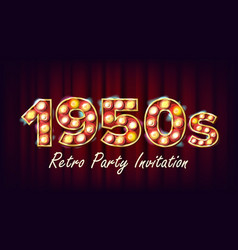 1950s retro party invitation 1950 style vector