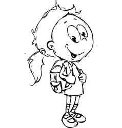 Girl with school bag - vector
