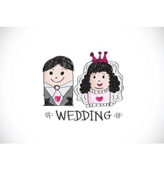 Cartoon hand drawn wedding couple wedding idea des vector