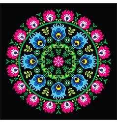 Polish traditional circle folk art pattern vector image