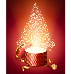 Abstract christmas tree from gift box vector