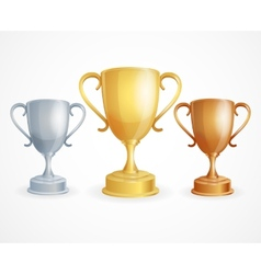 Three trophies gold silver and bronze vector