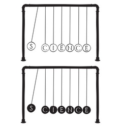 Newtons cradle with letters on balls vector