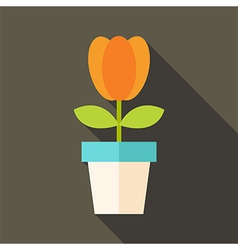 Pot with tulip flower vector
