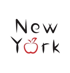 New York lettering with apple sign vector image