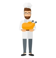 Man holding roasted chicken vector