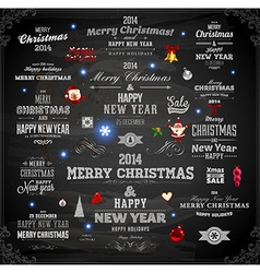 Chalkboard christmas set vector
