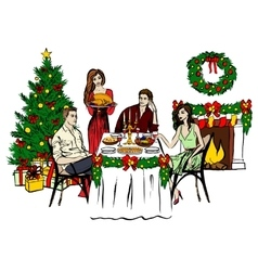Thanksgiving or christmas dinner vector